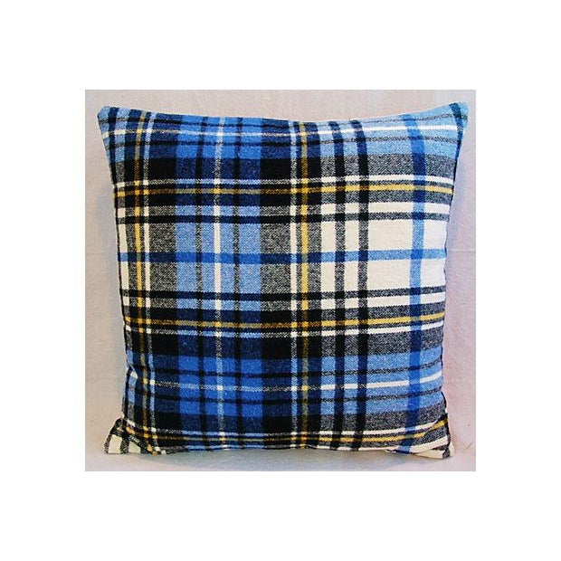 Custom Scottish Blue Tartan Plaid Wool Pillow - Image 4 of 5