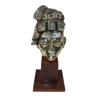 Abstract Silvered Bronze Aztec Warrior Bust