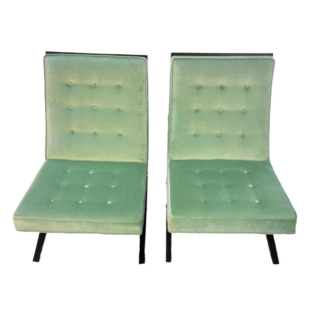 Green Lounge Chairs by Directional - Pair - Image 2 of 4