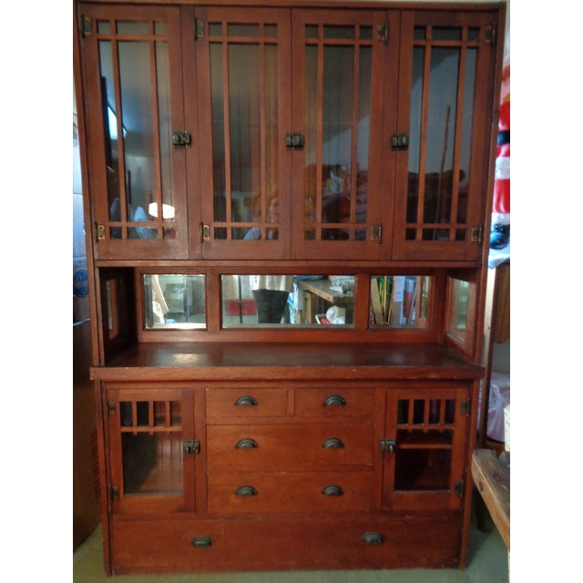Antique Mission Hutch China Cabinet - Image 2 of 11