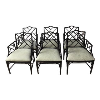 Chinese Chippendale Arm Chairs - Set of 6