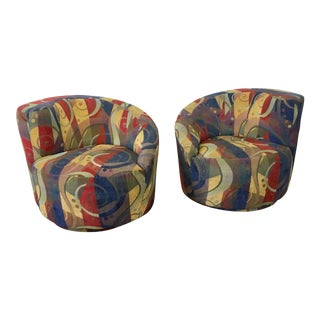 Vladimir Kagan Nautilus Swivel Chairs & Ottoman - Set of 3