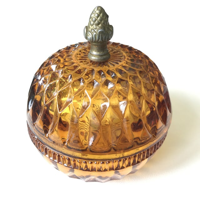 Image of Depresssion Glass Amber Covered Bowl