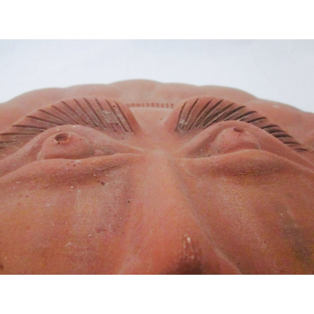 Mid-Century Sun Face Pottery Sculpture - Image 8 of 8