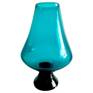 Vintage Footed Turquoise Blue Glass Vase