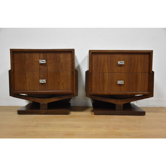 Mid-Century Brutalist Walnut Nightstands - A Pair - Image 3 of 11