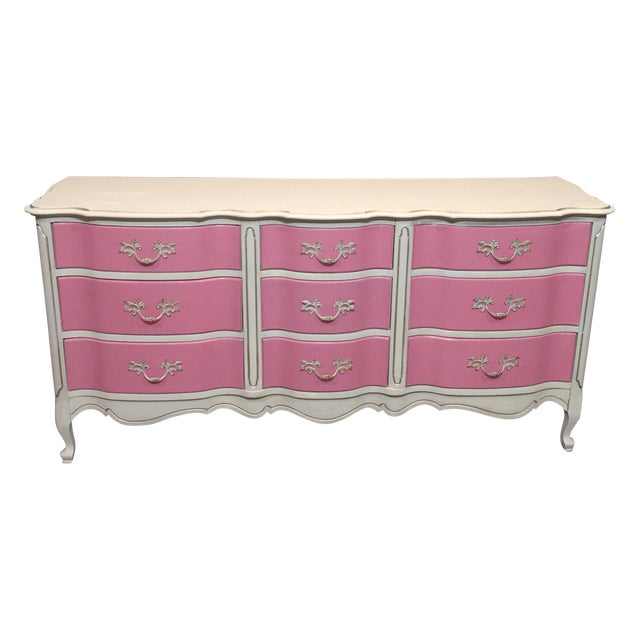Pink & White French Provincial Dresser - Image 1 of 9