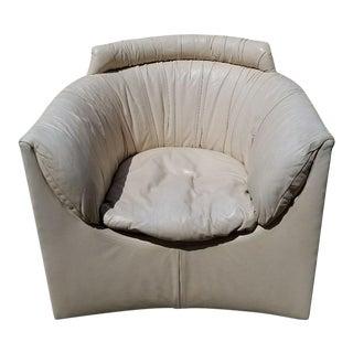 John Saladino for Baker Leather Swivel Lounge Chair