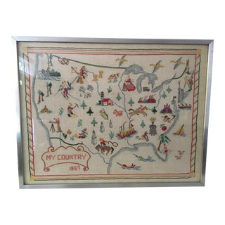 Vintage Hand Stitched Map Sampler