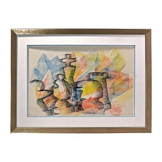 Abstract Pastel Drawing - Vintage Chess Figurine