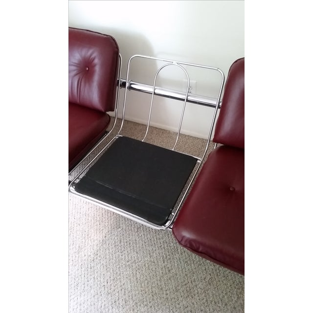 Image of Vintage Chrome 3-Seat Sofa With Foot Stool