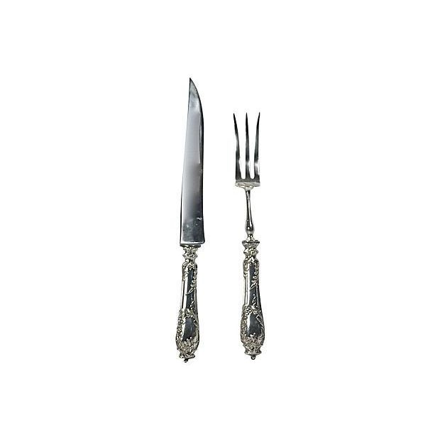 Image of Antique French Silver Carving Fork & Knife