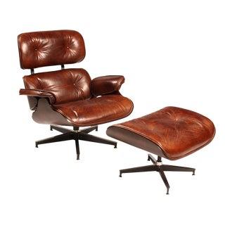 Mid-Century Leather Chair & Ottoman