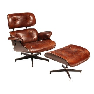 Mid-Century Leather Chair & Ottoman