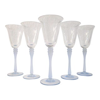 Vintage Powder Blue Crystal Wines Glasses - Set of 6