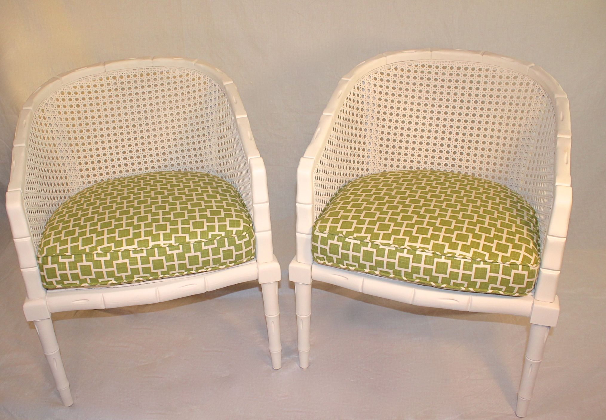 Vintage Off White Faux Bamboo Chairs   A Pair   Image 6 Of 7