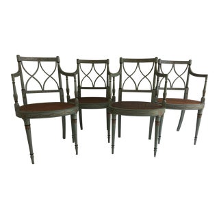 Painted French Style Caned Chairs - Pair
