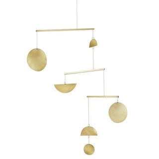 Brass Three-Tiered Geometric Mobile