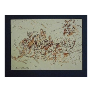Mid-Century Original Signed Drawing By D. Fredenthal