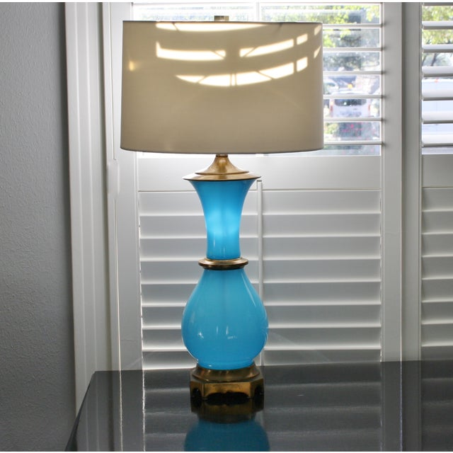 Image of Vintage Murano Opaline Blue Lamp