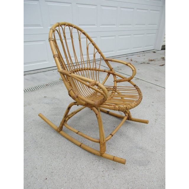 Bamboo and Wicker Rocking Chair - Image 4 of 8
