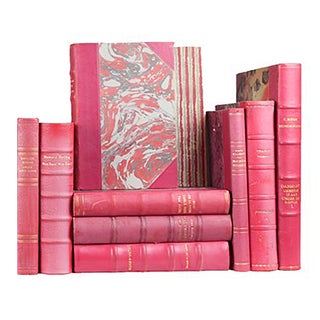 Antique Pink Leather-Bound Books - Set of 10