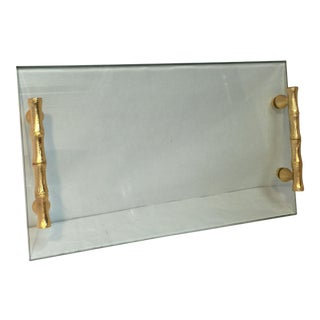 Contemporary Glass & Bamboo Tray