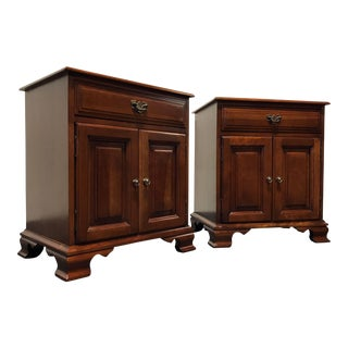 Davis Cabinet Co. Solid Cherry Chippendale Bedside Chests Nightstands - a Pair