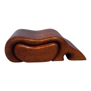 Fred & Marilyn Buss Koa Wood Sculptural Puzzle Jewelry Art Box