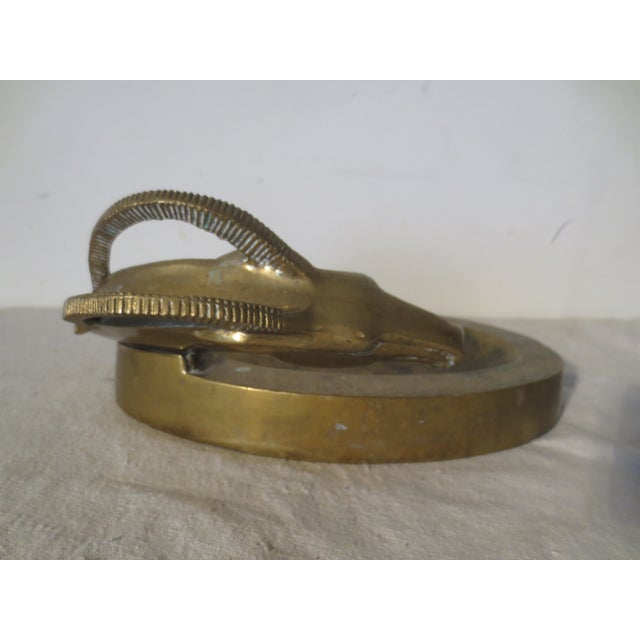 Image of Vintage 1970s Brass Antelope Tray
