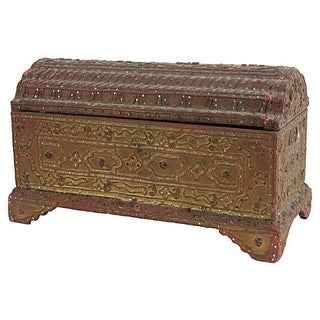 Vintage Thai Small Embellished Gold Wood Box