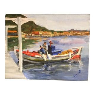 """Coming Home"" Mykonos Harbor Original Painting"