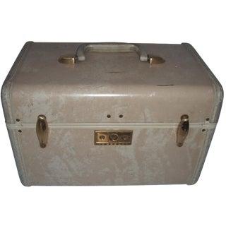 Mid Century Samsonite Beige Vinyl Cosmetics Case