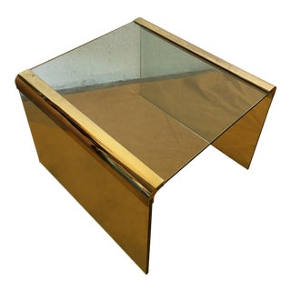 Vintage Leon Rosen Glass and Brass End Table for Pace Collection