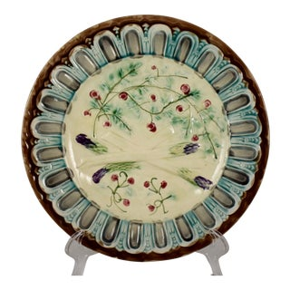 French Faïence Majolica Gothic Border Asparagus Plate