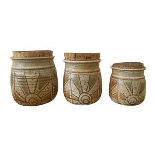 Vintage Earthenware Canisters - Set of 3
