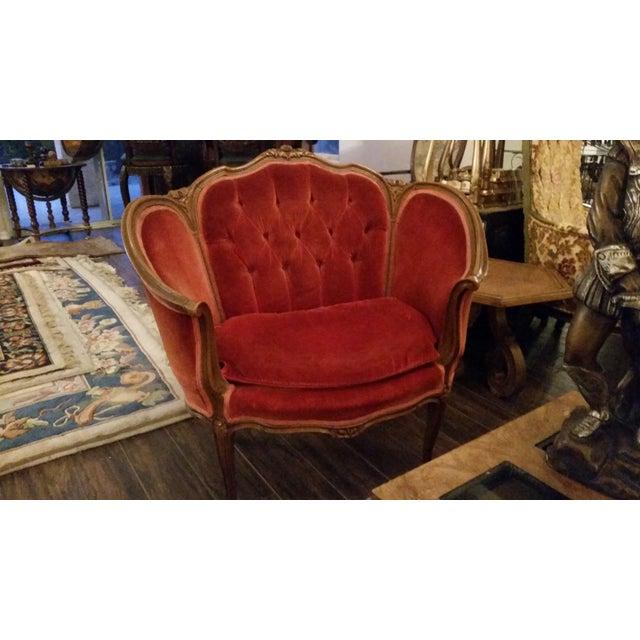 Image of Antique French Settee Barrel Velvet Chair