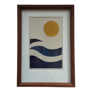 Original Vintage Abstract Colored Lithograph Print