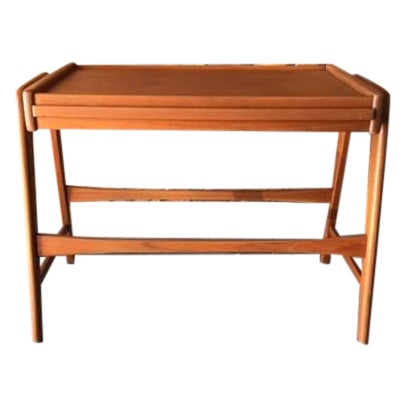 Image of Mid-Century Danish Teak Pull Out Side Table