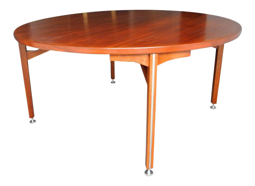 High Quality Jens Risom Danish Modern Round Walnut Dining Table