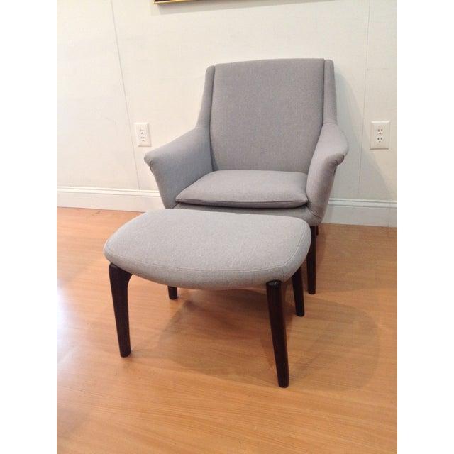 Danish Modern Upholstered Lounge Chair & Ottoman - Image 2 of 11