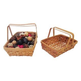 Vintage Woven Baskets & Potpourri - A Pair