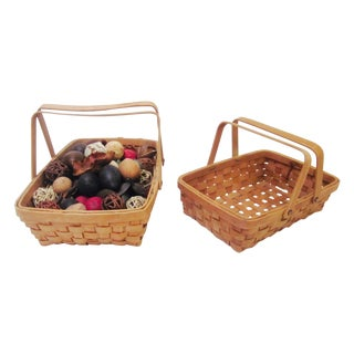 Vintage Woven Baskets- A Pair