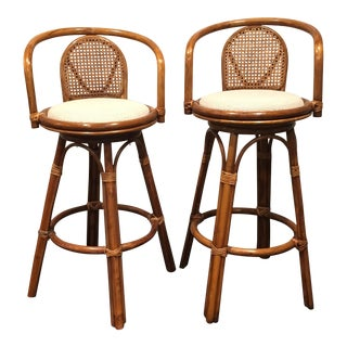 Wicker Swivel Bar Stools With Cushions - A Pair