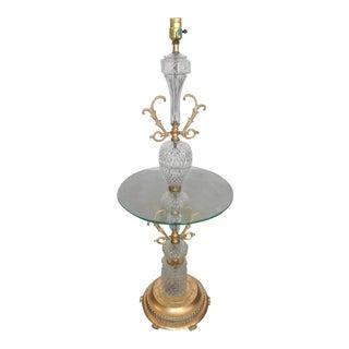 Regency Glass and Gilt Side Table Floor Lamp