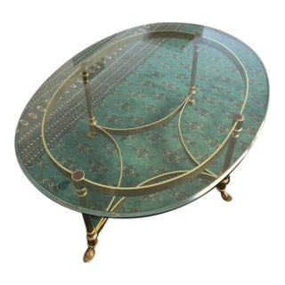 Maison Jansen French Brass & Glass Coffee Table