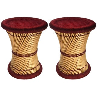 Natural Geo Moray Decorative Maroon Accent Stool - A Pair