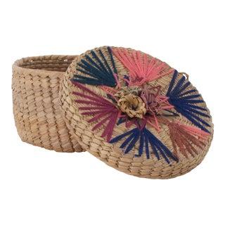 1970s Vintage Embroidered Sewing Basket