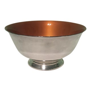 Silverplate Orange Enamel Interior Paul Revere Bowl