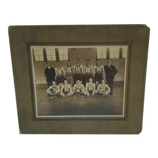 1920-1921 High School Men's Basketball Team Black & White Photograph